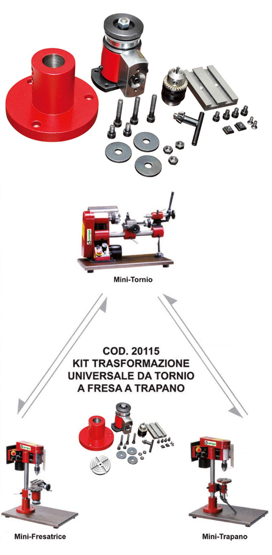 Kit trasformazione trapano e fresa mini tornio for Tornio per legno compa