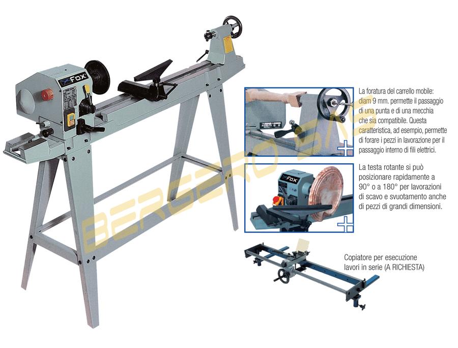 Tornio x legno 965mm testa rotante girevole basam ghisa for Copiatore per tornio legno autocostruito