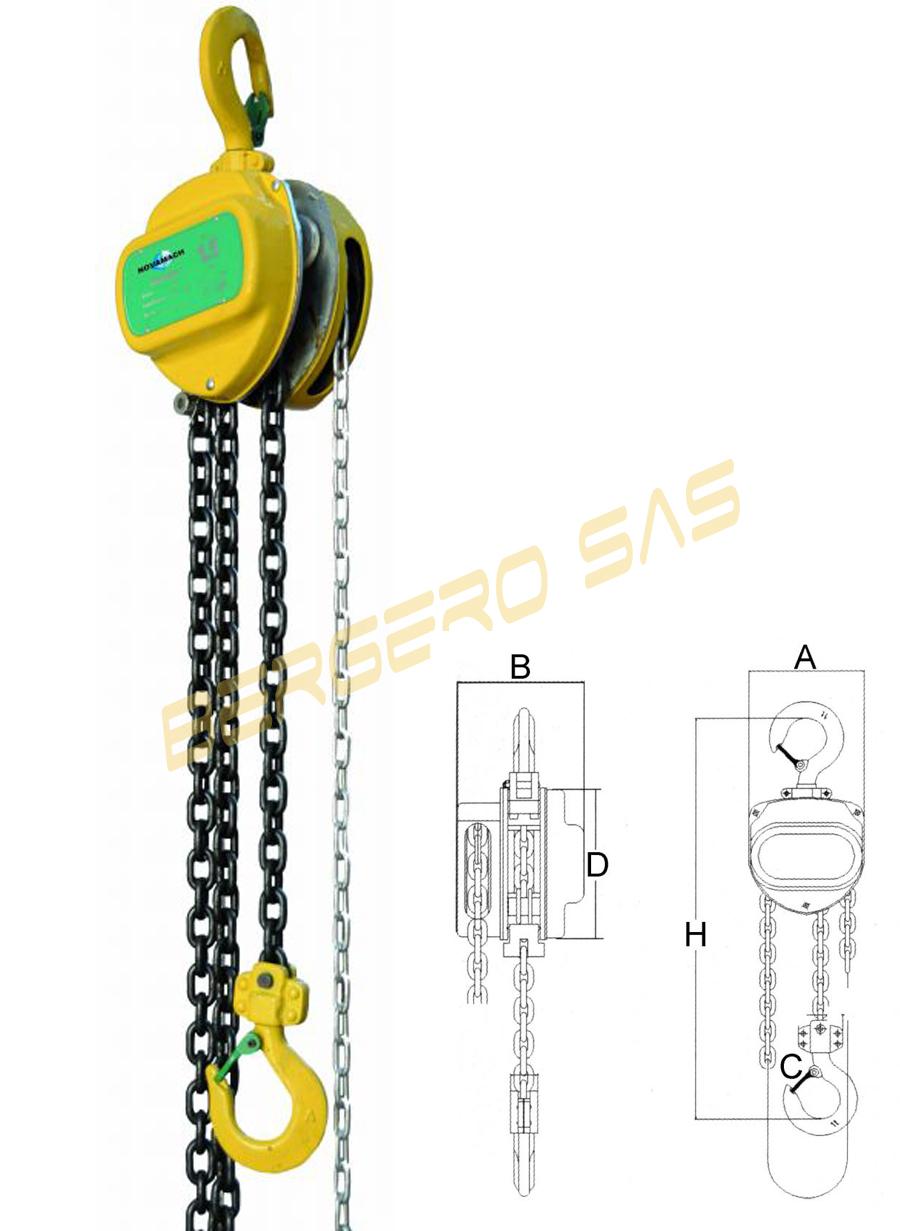 Paranco manuale sollevamento a catena da 3 mt portata 1500 - Portata golfari di sollevamento ...